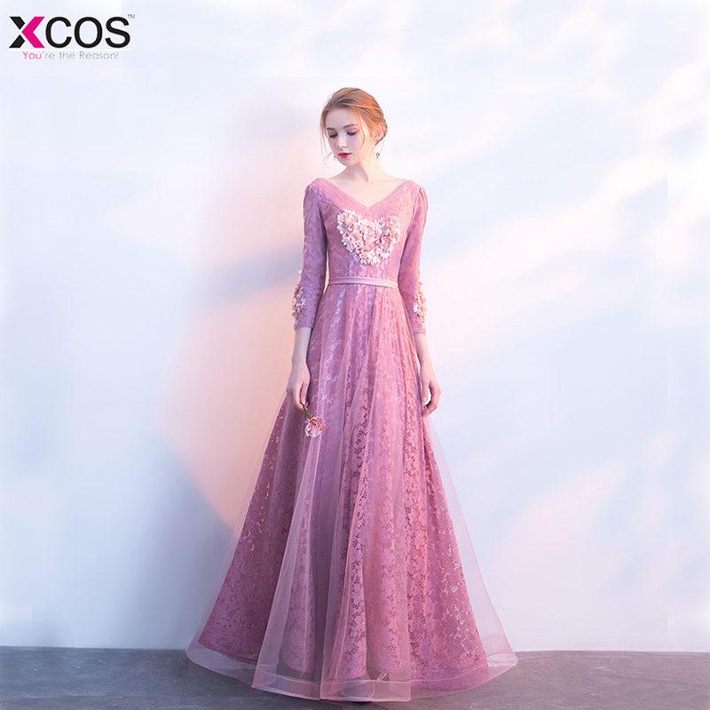 Sexy robe De soirée 2018 v-cou perles fleur dos ouvert longues robes De soirée fête élégant robe De Festa dentelle robes De bal
