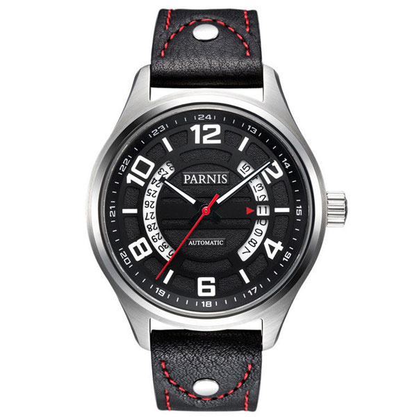 43mm Parnis black dial SS case Sapphire Glass Leather strap miyota Automatic Movement mens Watch43mm Parnis black dial SS case Sapphire Glass Leather strap miyota Automatic Movement mens Watch