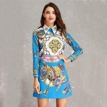 de67570e90b Сезон  весна-лето 2019 дизайнерский комплект для женщин Роскошные  абстрактный принт бисер алмаз Блузка + юбка карандаш костюм ко.