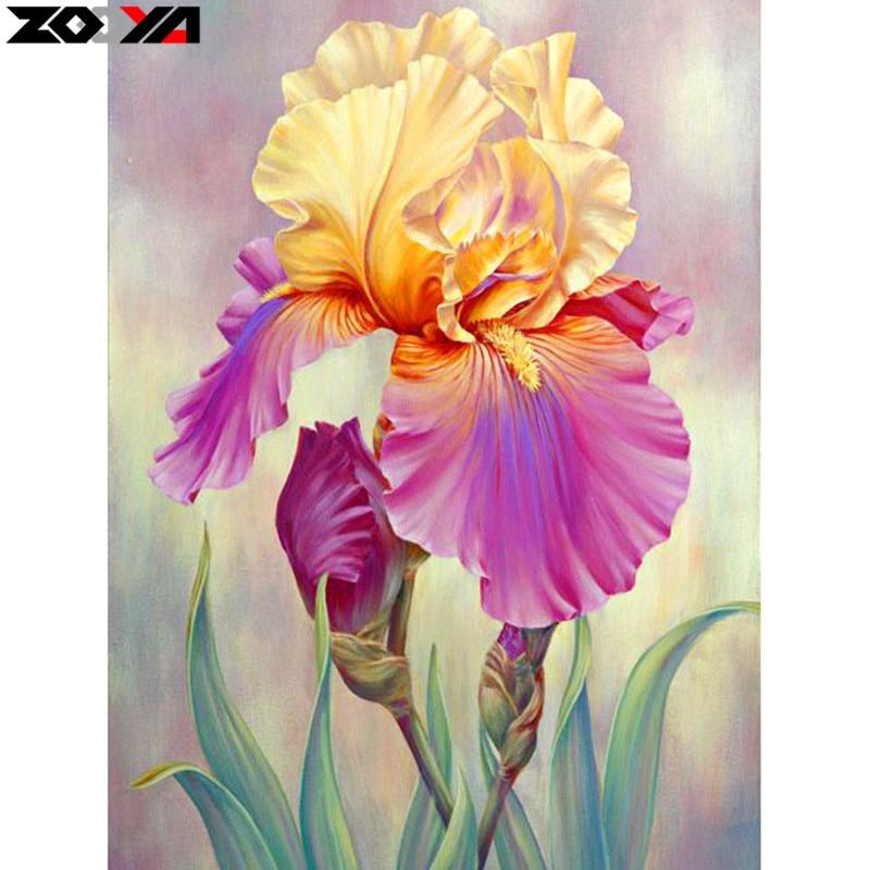 ZOOYA Plein forage Carré 5D BRICOLAGE Diamant Broderie iris fleur Diamant Peinture Point De Croix Strass Mosaïque décoration