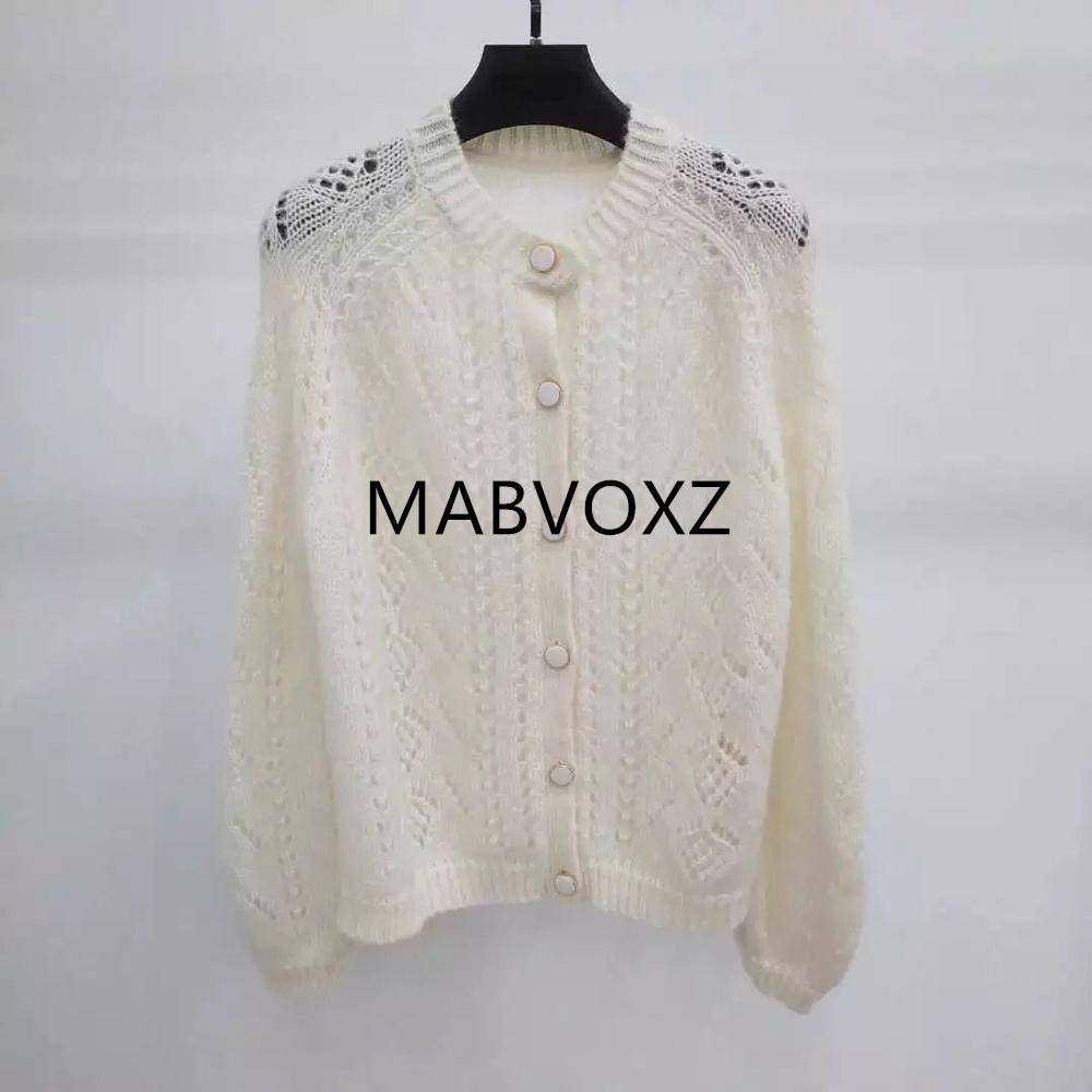 New Women Mohair Sweet Soft Cardigan Sweater Single Breasted Hollow Out Pull Top
