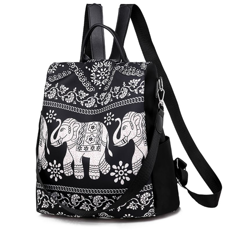 Nylon Retro Elephant Print Backpack Unisex Middle School Student Bag Wild Travel Backpack in Backpacks from Luggage Bags