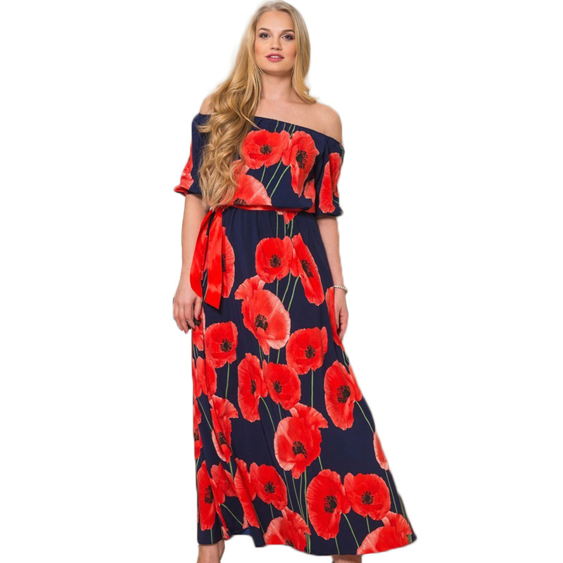 Top Sale 6xl Plus Size Women Long Dress Fashion Printing Summer
