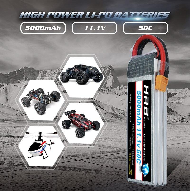 HRB 3s lipo батарея 11,1 v 5000 мА/ч, 50C xt60 разъем для Traxxas осевой радиоуправляемая автомодель трагги гонки баки самолета RC дроны Вертолет Лодка