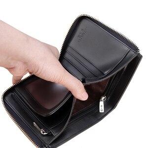 Image 5 - Мужской короткий кошелек LAORENTOU, Черный Повседневный бумажник из натуральной кожи, на молнии, с отделением для монет,