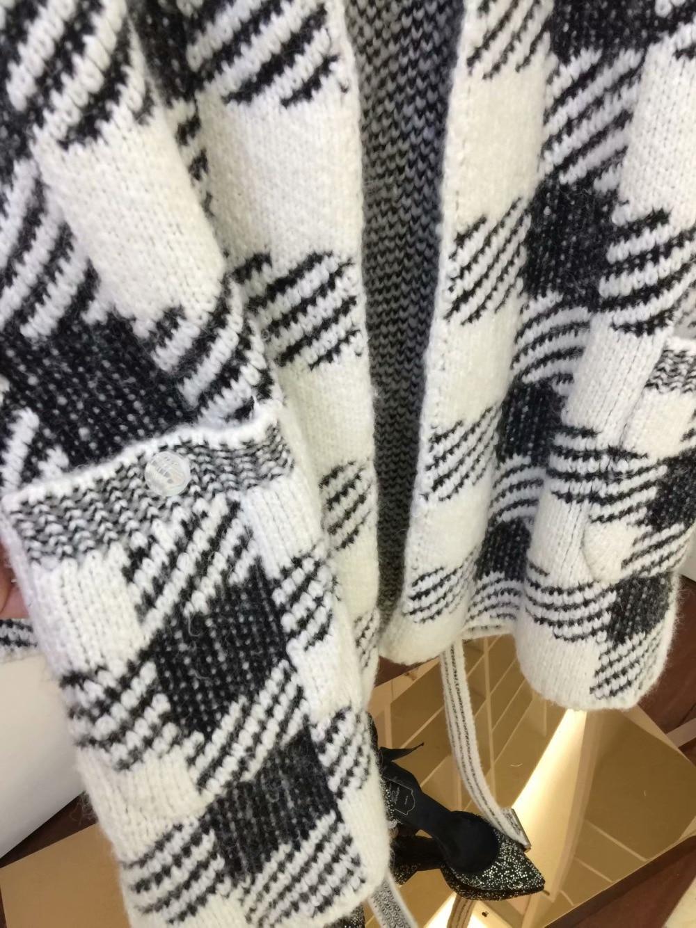 Carreaux Bureau Écharpes V Dame Kleding Noir 9 Tricot Pull Noeud Longue Blanc 28 Double Cardigan Mi Femmes À Noué Poches Col x1qwxYp5