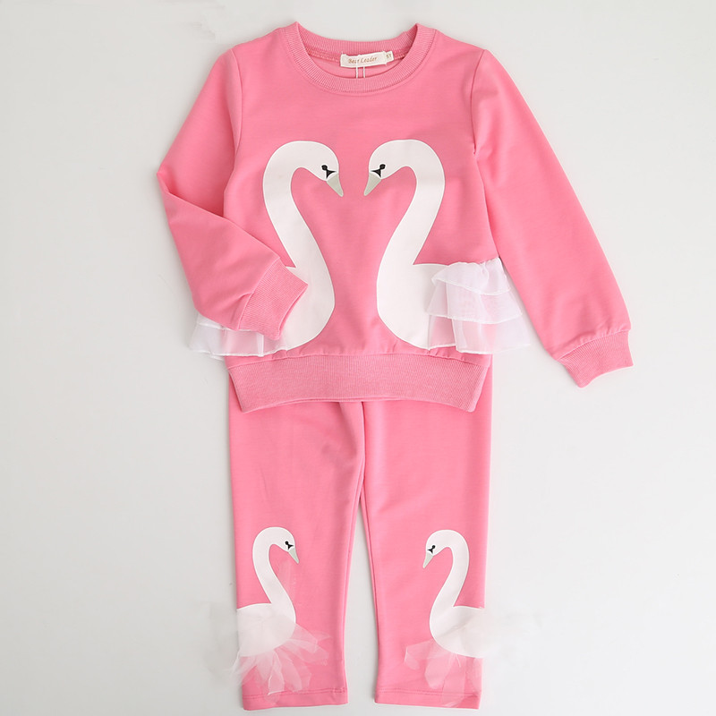 Spring Kids Clothing Sets Baby Clothes Suits Cute Swan Print Long Sleeve T-Shirt + Pants 2 Pcs Casual Sport Suit Children Set