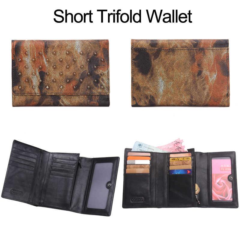 Брендовые женские кошельки с заклепками, длинный клатч из натуральной кожи, кошелек в американском стиле на молнии, кошелек для монет, сумка для мобильного телефона, держатель для карт