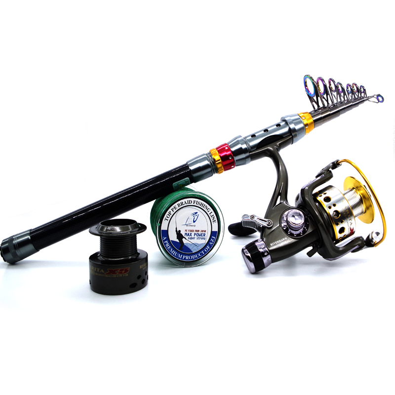 2016 Top Rod Combo Carbon font b Telescopic b font Fishing Rod with Fishing Reel and