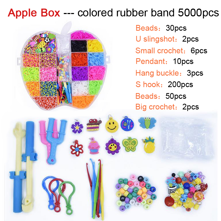 DOLLRYGA 5000pcs DIY Toy Rubber Loom Bands Set Kid Bracelet Silicone Rubber Bands Elastic Rainbow Weave Loom Bands Children Toy
