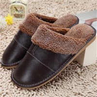 High Quality Winter Warm Home Slippers Couples Genuine Cow Leather Leisure Lamb Wool Cow Muscle Women