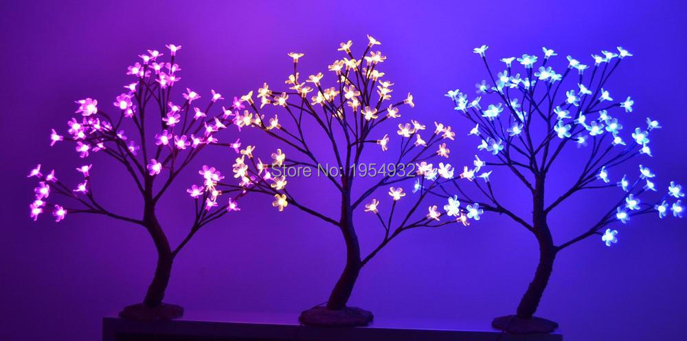 Indoor & Outdoor 64 LED Mini Size Cherry Blossom Tree Light in 55cm Height with artifical nature trunk treatment Resin Base