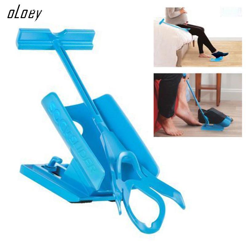 Mayitr 1pc Sock Slider Aid Blue Helper Kit Helps Put Socks On Off No Bending Shoe Horn Suitable For Socks q3w2 sock slider aid blue helper kit help