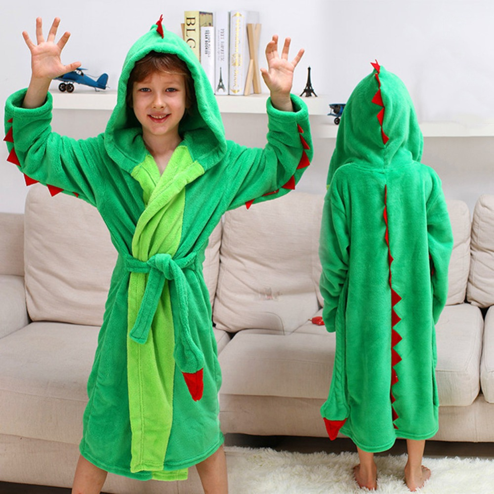 Girls Boys' Plush Hooded Bathrobe - Dinosaur Fleece Robe 2