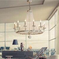 European Style White Vintage Luxury Big LED Crystal Chandelier Lamp Lustres Modern E14 Lights For Living