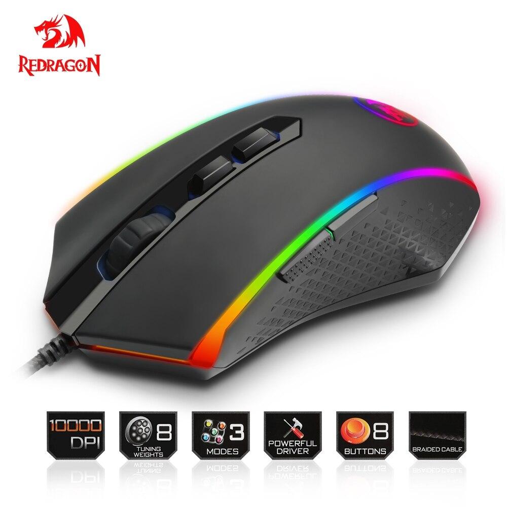 Redragon USB wired Gaming Maus 10000 DPI 8 tasten laser programmierbare spiel mäuse mit hintergrundbeleuchtung ergonomische für laptop computer