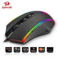 Redragon USB wired Gaming Mouse 10000 DPI 8 buttons laser programmable game mice with backlight ergonomic for laptop computer