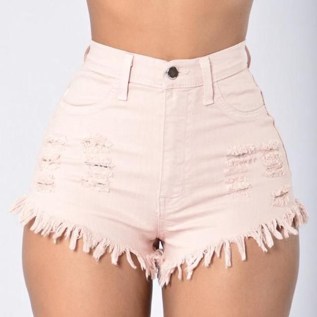 f20bb2440f Women Denim Shorts Vintage Tassel Ripped Loose High Waist Shorts Punk  Ladies Girls Sexy Short Jeans Green Wine Red White-in Shorts from Women's  ...