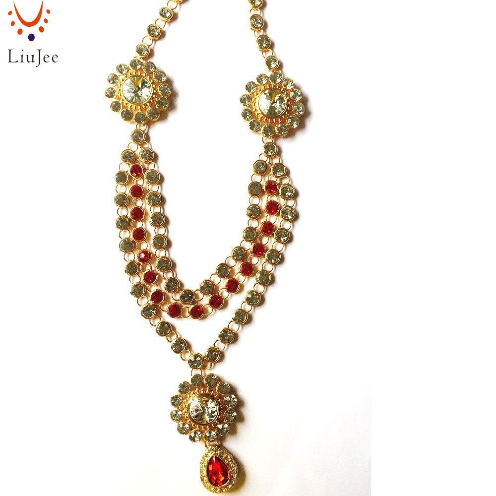 LiuJee Simple Red & Clear Kundan Indian Bridal Vintage Jewelry Necklace Tikka Jhumar Wedding Bridesmaids Party Prom NK011