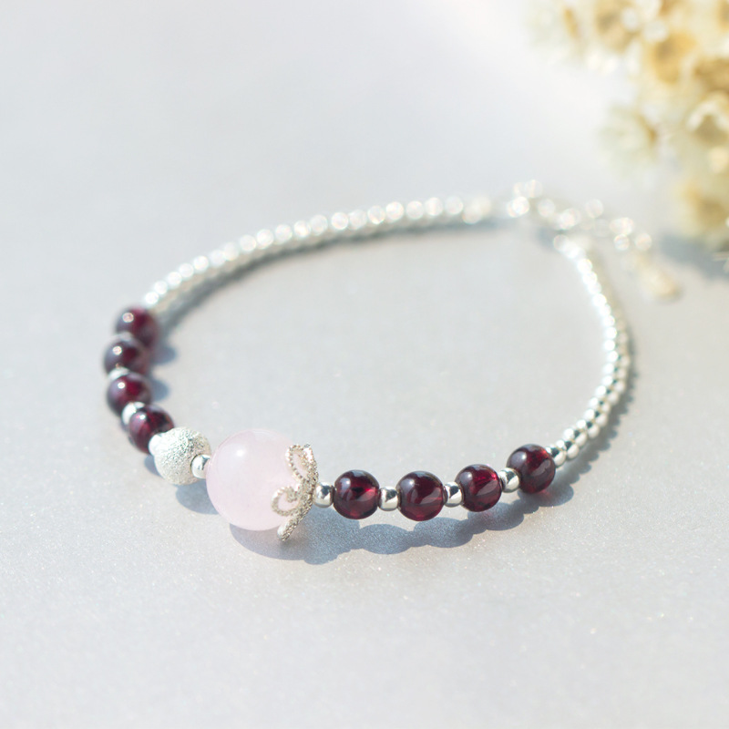 Real. 925 Sterling Silver Jewelry Natural Rose Quartz Stone &Red Garnet with Lucky Round ...