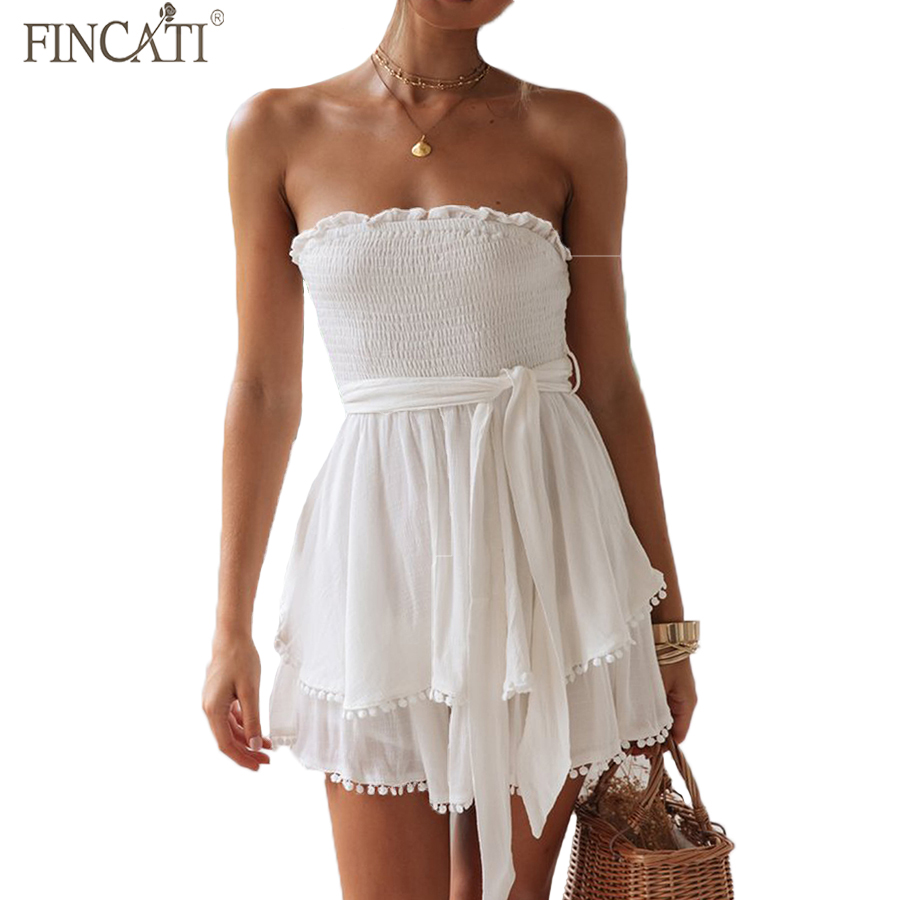Women Playsuits Fincati 2019 Summer New Arrival Sexy Tube Strapless Elastic Lace-up Waist Layers Tassel Hem M-2XL Oversize
