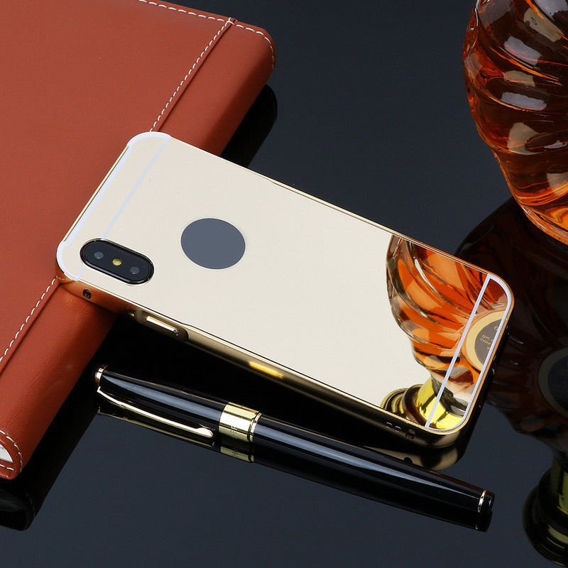 Luxury Rose Gold Mirror Cases For iPhone XS Max Alumimum Metal Frame shell Back Cover for iphone XR XS in Half wrapped Cases from Cellphones Telecommunications