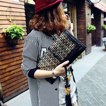 New Summer Womens Trendy Metal Punk Rivet Day Clutchs Evening Party Casual Cross Body Tassel Shouder Messenger Bag