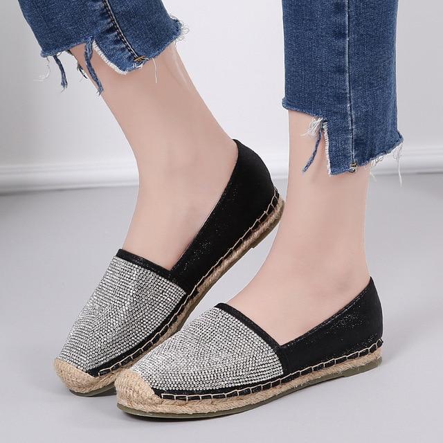 1945 16 De Descuentoaliexpresscom Comprar Cristal Alpargatas Zapatos Famosa Marca De Lujo De Lentejuelas Pescador Zapatos Mujer Oroplatanegro