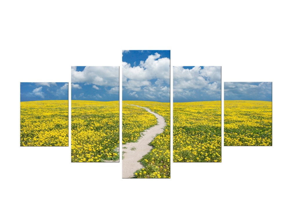 5 Pieces Modern Canvas Art Yellow Flower Field Canvas Painting Landscape Prints Painting Wall Art Picture Living Room Framed
