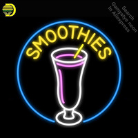 Smoothie Neon Sign cup Handmade neon bulb Sign real Glass Tube neon light Recreation Game Room Iconic Sign metal frame