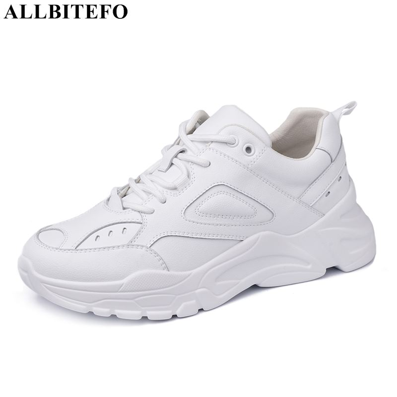 ALLBITEFO fashion brand genuine leather sports women shoes high quality women flats sneakers shoes flat heel