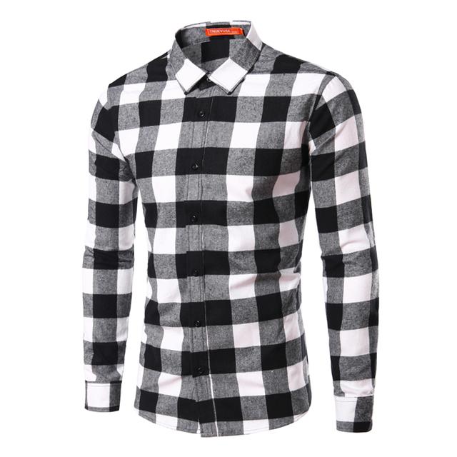 2016 Nueva Primavera/Otoño Camisa de Tela Escocesa Camisas de Los Hombres Chemise Homme Slim Fit Para Hombre de Algodón de Manga Larga A Cuadros Camisas S-XXL TU211