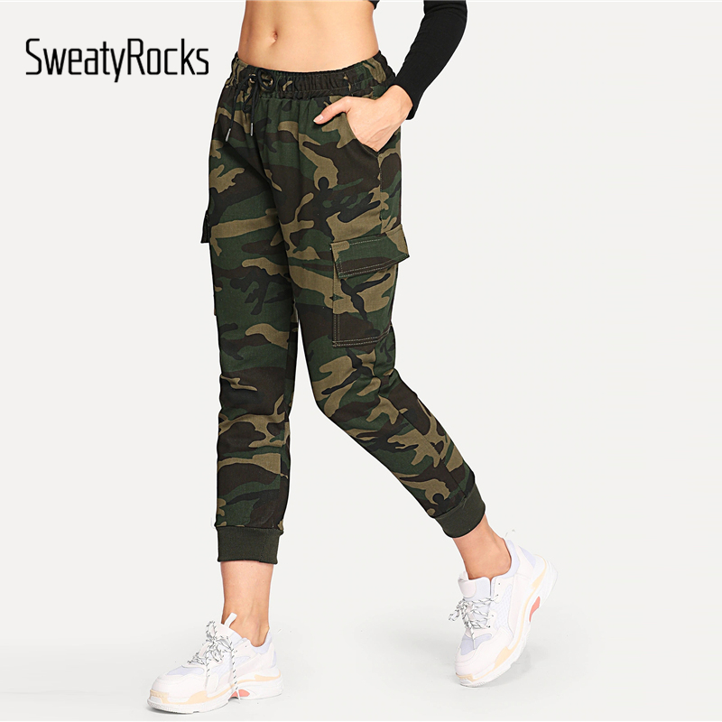 SweatyRocks Drawstring Waist Camouflage   Jeans   Pocket Side Streetwear Women Pants And Trousers 2019 New Spring Casual Pants