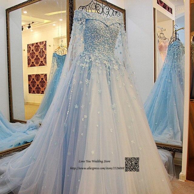 Blau Elfenbein Boho Hochzeitskleid Spitze Blumen Saudi arabien ...