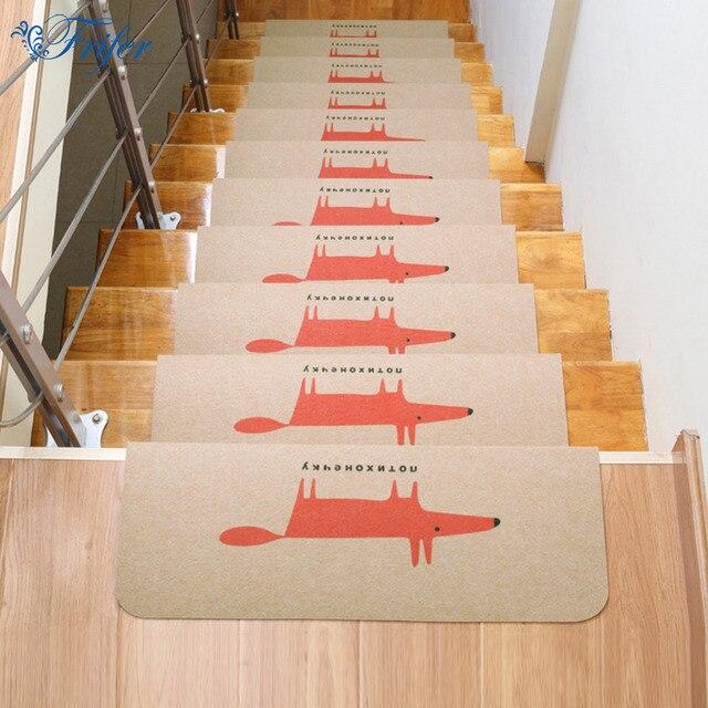 5pcs/set Quality Non Slip Floor Carpet Wolf Staircase Mat Noise Damping  Polyester