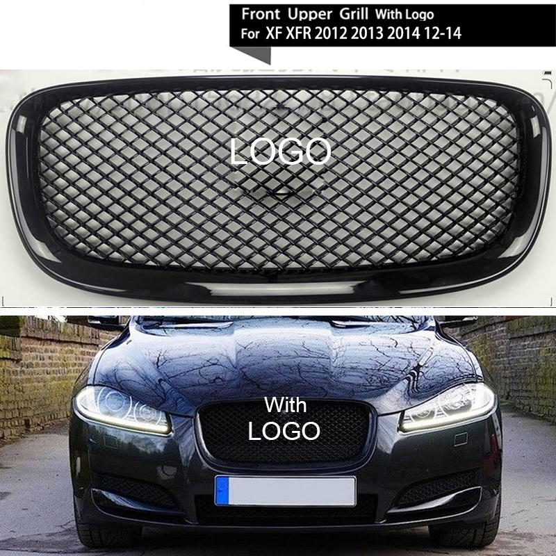 все цены на Sliver/Black Car Racing Grille For Jaguar XF XFR 2012-2015 Grill With Emblem Mesh ABS Chrome Radiator Front Bumper Lower Modify онлайн