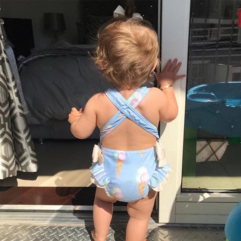 Image 3 - Retail Baby Girls Beautiful Swimming Wear Suits Lovely Flamingo Ice cream Bear Giraffe Swimsuits Child Fashion Swimwear E10002Clothing Sets   -