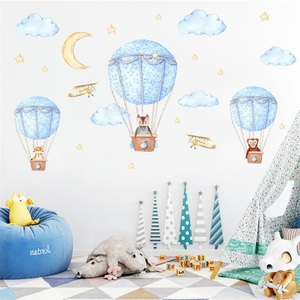 Creative Vinyl Lovely Cartoon Animal Hot Air Balloon Moon DIY Removable Wall Stickers Living Room Home Decoration Wall Decal(China)