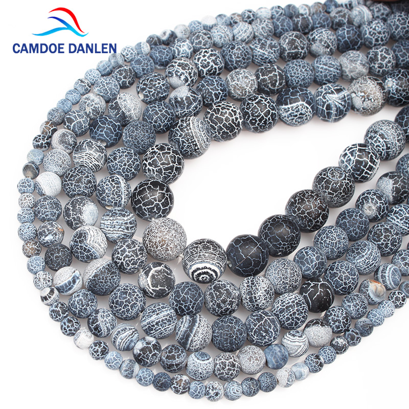 Natural Stone Beads Black Weathered Agates Round Loose Ball 4/6/8/10/12MM DIY Handicraft Jewelry Bracelet Necklace Making