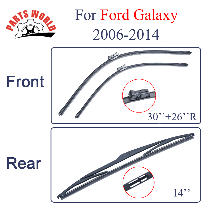 Предно и задно стъкло на чистачките за Ford Galaxy 2006-2014 Природни каучукови аксесоари за чистачки за предно стъкло