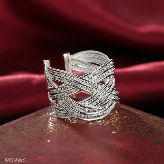 silver fashion female big new ring open women cute lady hot sale wedding party j