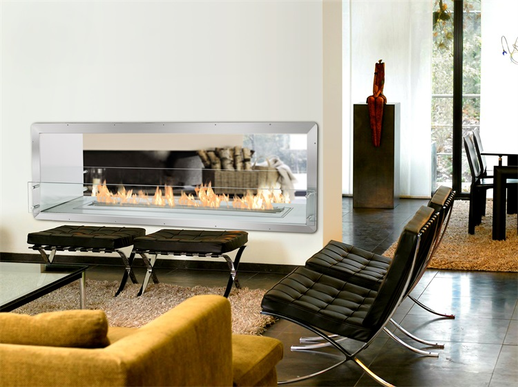 31inch 800mm Long Remote Control Intelligent Silver Bioethanol  Double Sided Wall Fireplace