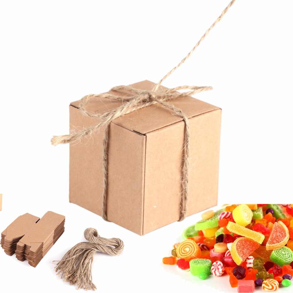 50Pcs Kraft Paper Wedding Party Favors Candy Box Brown Square Cardboard Boxes For Wedding Packaging Gift Box Gifts For Guests