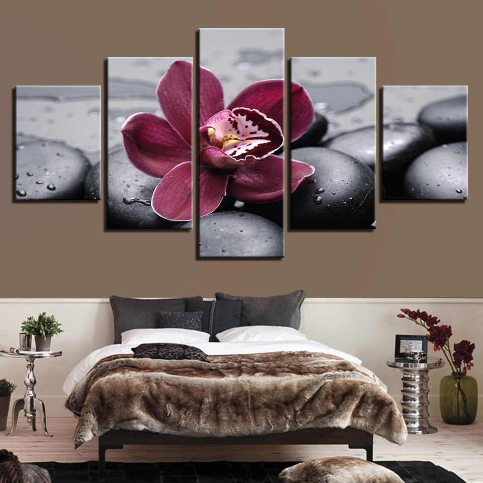 Canvas HD Print Painting Modular Picture Wall Art 5 Panel Purple Orchid Black Pebbles Frame Poster Modern Home Decor Living Room