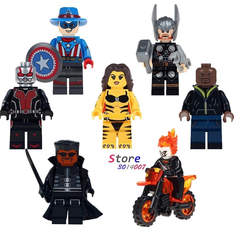Single Thor Ghost Rider Motorcycle Captain America Antman Luke Cage Tigress Blade building blocks bricks font