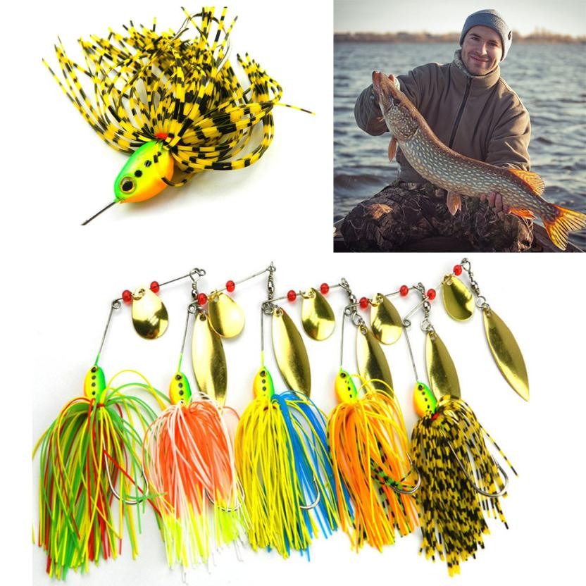 2017 NEW fishing pesca 5pc Fishing Hard Spinner Lure Spinnerbait Pike Bass SEPTEMBER21