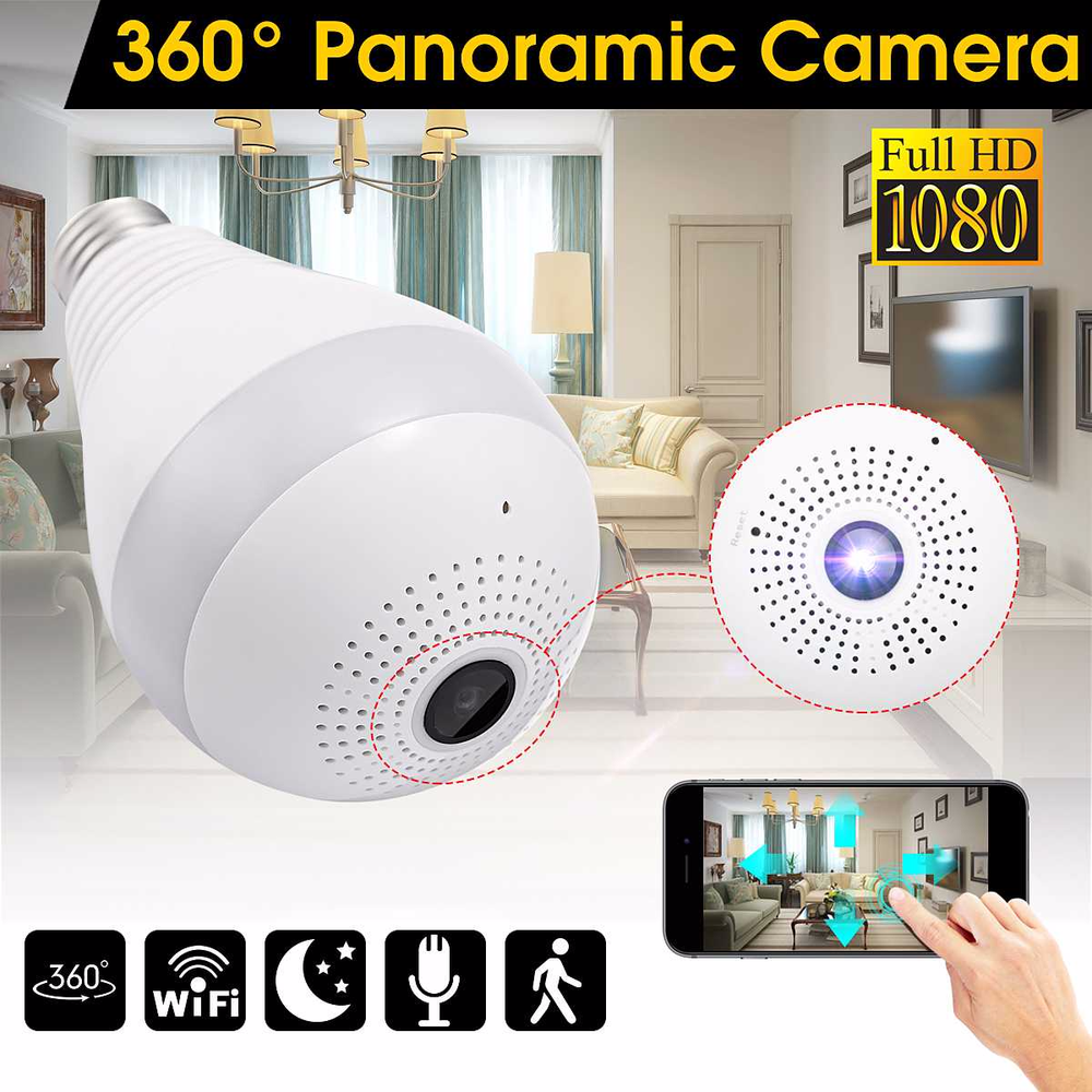 360 Degree Wireless WIFI IP Light Camera 1080P Bulb Lamp Panoramic FishEye Smart Home Monitor Alarm CCTV WiFi Security Camera-in Surveillance Cameras from Security & Protection