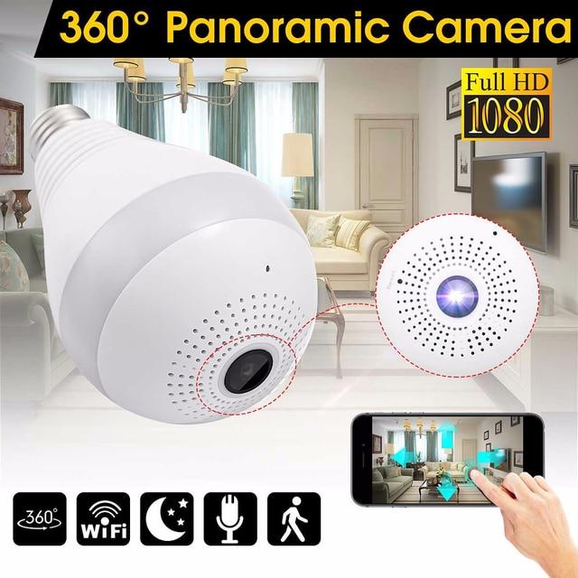 360 Degree Wireless WIFI IP Light Camera 1080P Bulb Lamp Panoramic FishEye Smart Home Monitor Alarm CCTV WiFi Security Camera