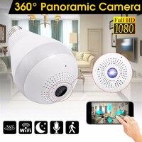 360 stopni bezprzewodowy WIFI IP lekki aparat 1080P lampy panoramiczne rybie oko inteligentnego domu alarm z monitorem CCTV kamera monitoringu wi-fi