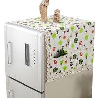 RUBIHOME Cartoon Animal Owl Dust Cover for Refrigerator Machine Dustproof Flower Home Decor 52x130cm